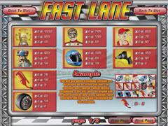 Fast Lane paytable