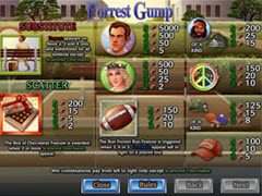 Forest Gump paytable