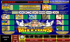 Major Million5 reel paytable