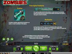 Zombies paytable