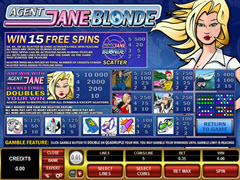Agent Jane Blonde Paytable
