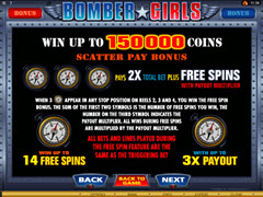 Bomber Girls paytable