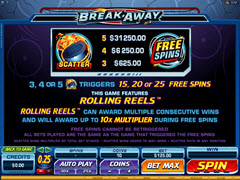 Break Away paytable