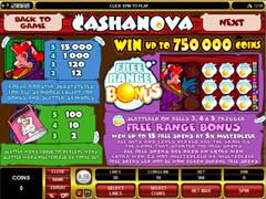Cashonova paytable
