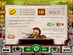 Victorious paytable
