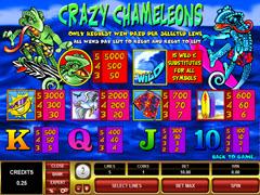 Crazy Chameleons paytable