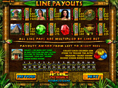Aztec Treasures paytable