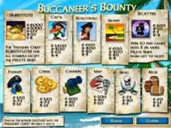 Buccaneer's Bounty paytable