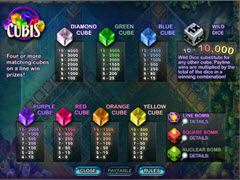 Cubis paytable