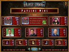 Black Widow paytable