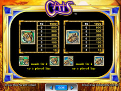 Cats 30 paytable