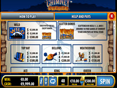 Chimney Slots paytable