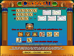 Cleopatra II paytable
