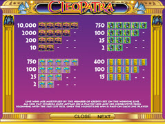 Cleopatra paytable