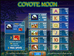 Coyote Moon paytable