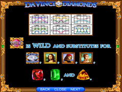 Da Vinci Diamonds paytable