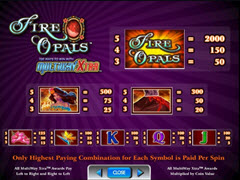 Fire Opals paytable