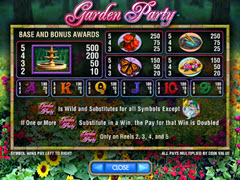 Garden party paytable