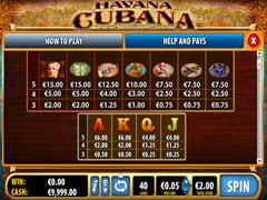 Havana Cubana paytable