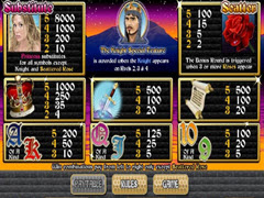 Quest of Kings paytable