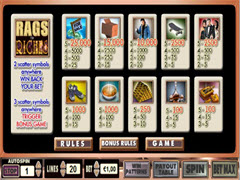 Rags to Riches - 5 Reel paytable